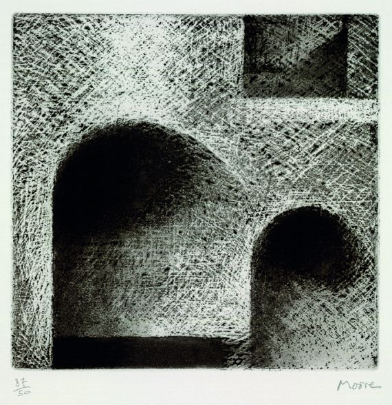 Henry Moore - 2 Bll.: Tunnel - Arch and Window. Woman with Arms Crossed